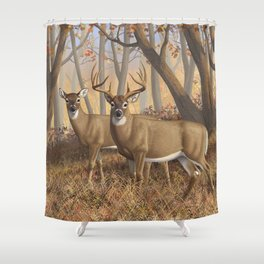 Whitetail Deer Trophy Buck and Doe in Autumn Shower Curtain