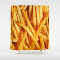 french fries Shower Curtains featuring Fries by Maioriz Home