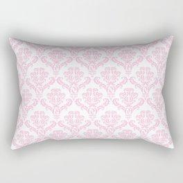 Venetian Damask, Ornaments, Swirls - Pink White Rectangular Pillow