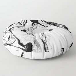 Yumiko - black and white spilled ink abstract painting marble texture pattern marbling marbled paper Floor Pillow