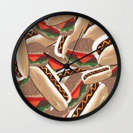 Hot Dogs And Hamburgers Wall Clock