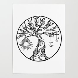 black and white tree of life with hanging sun, moon and stars I Poster