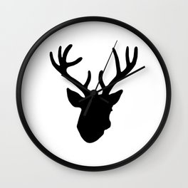 Deer Head: Black Wall Clock