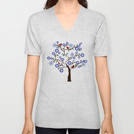 Lucky Evil Eye Bird Tree Unisex V-Neck