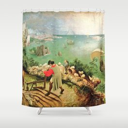 Landscape With The Fall Of Icarus Painting Pieter Bruegel The Elder Shower Curtain