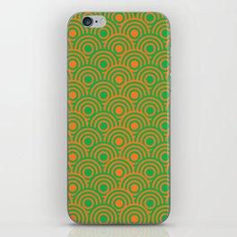 op art pattern retro circles in green and orange iPhone Skin