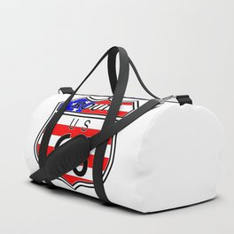 Route 66 Highway Sign With Flag Duffle Bag