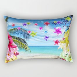 Tropical Beach and Exotic Plumeria Flowers Rectangular Pillow