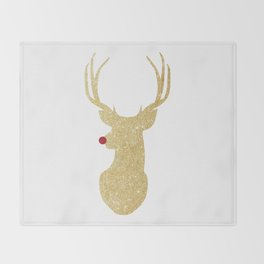 Rudolph The Red-Nosed Reindeer | Gold Glitter Throw Blanket