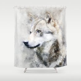 Watercolour grey wolf portrait Shower Curtain