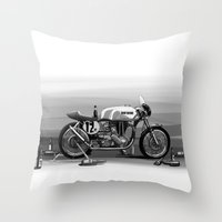 cafe racer Throw Pillows featuring Beer Savage Vintage Norton Cafe Racer by TCORNELIUS