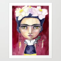 jane davenport Art Prints featuring Little Frida by Jane Davenport by Jane Davenport
