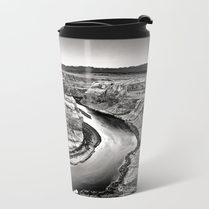 Horseshoe Bend Arizona Black and White Metal Travel Mug