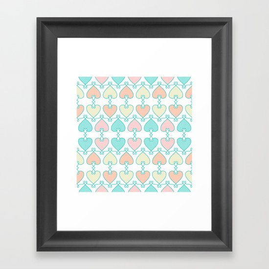 Hearts on the line Framed Art Print