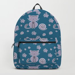 Cat with ball and footprints Backpack