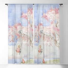 Girl on a Sakura Tree Swing with Cats Sheer Curtain