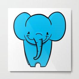 The Happiest Blue Elephant Metal Print
