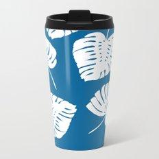 Blue and White Tropics Metal Travel Mug