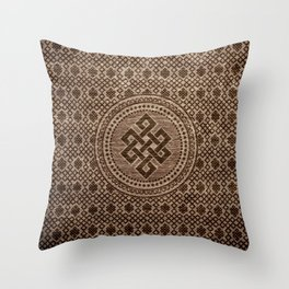 Endless Knot Decorative on Wooden Surface Throw Pillow