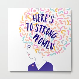 'To Strong Women' Typographic Portrait #grlpwr #illustration Metal Print