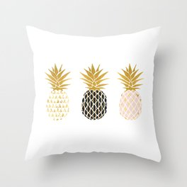 fun pineapple design gold Throw Pillow