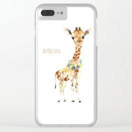 Be YOU tiful Giraffe Baby Clear iPhone Case