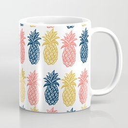 Pineapple Pattern in Tropical coral, yellow, navy Coffee Mug