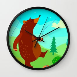 Bear jumps with a rope Wall Clock