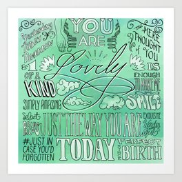 Lovely (Green) Art Print