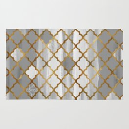 Moroccan Tile Pattern In Grey And Gold Rug