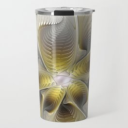 Gold And Silver, Abstract Flower Fractal Travel Mug