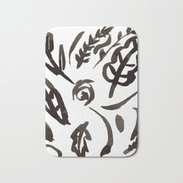 Black Leaves Bath Mat
