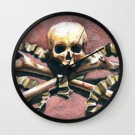 Ornate skull from Milan bone church Wall Clock