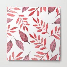 Autumn Watercolor Fall Leaves Metal Print