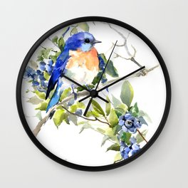 Bluebird and Blueberry Wall Clock