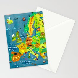 Map of Europe Stationery Cards