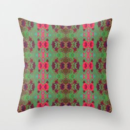 Pink and green marble Throw Pillow