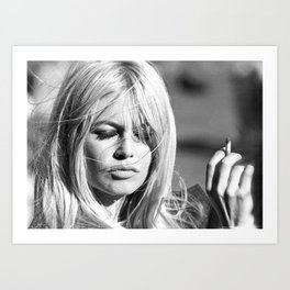 Brigitte Bardot with Cigarette Retro Vintage Art Art Print