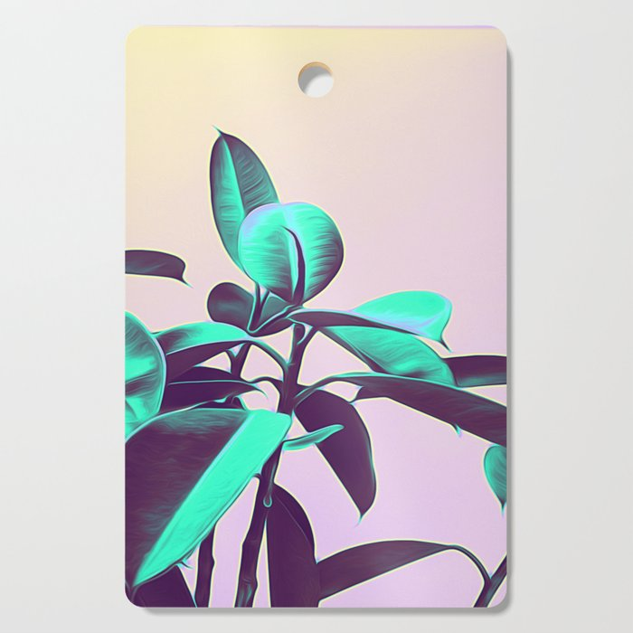 Iridescent Green Leaves Cutting Board