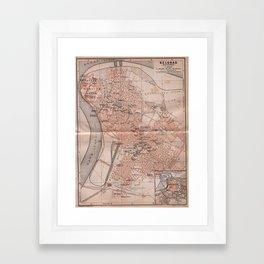 Vintage Map of Belgrade Serbia (1905) Framed Art Print