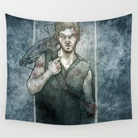 daryl Wall Tapestries featuring Daryl Dixon The Walking Dead Tribute by suPmön