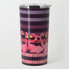 FUN STRIPES WITH FLAMINGOS Travel Mug