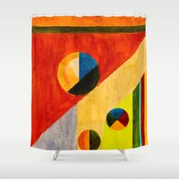 kandinsky Shower Curtains featuring BALANCE by THE USUAL DESIGNERS