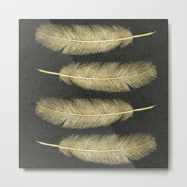 Gold Pastel Feathers Metal Print