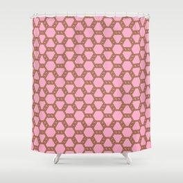 Pastel Brown-Red Freeman Lattice Shower Curtain
