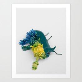 Teal Beetle and Corals in Seaside Colors Art Print