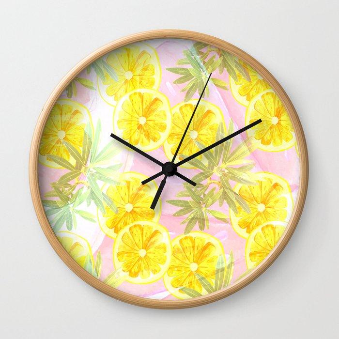 Leafy Orange Print Wall Clock