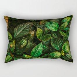 Golden Green Leaves Rectangular Pillow