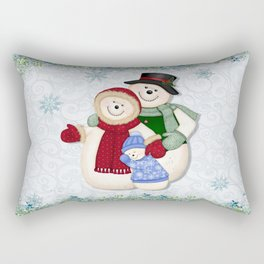 Snowman and Family Glittered Rectangular Pillow