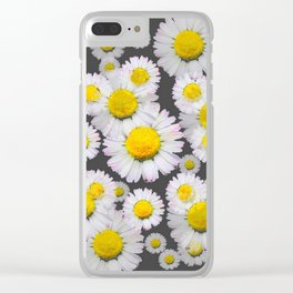 CHARCOAL GREY GARDEN OF SHASTA DAISY FLOWERS Clear iPhone Case